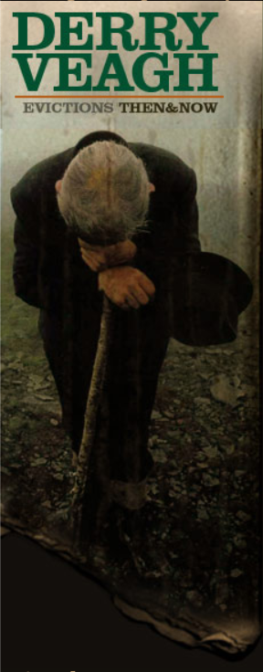 Evicted man cries on his shovel in the fog